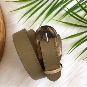 Accessories - Minimalist Acrylic Resin Buckle Taupe Belt 18W